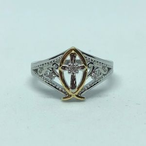 Jewelry - Stamped 925 SS 2 Tone White Sapphire Cross Ring 6